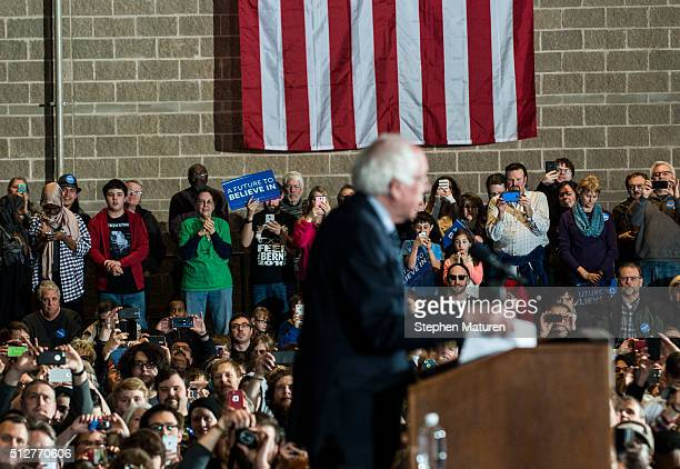 Democratic presidential candidate Sen. Bernie Sanders speaks to a crowd of supporters at the Mayo Civic Center on February 27, 2016 in Rochester, MN....