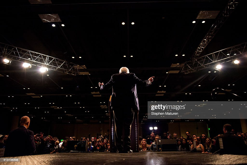 Democratic presidential candidate Sen. Bernie Sanders (D-VT) speaks to a crowd of supporters at the Minneapolis Convention Center February 29, 2016 in Minneapolis, Minnesota. Sanders, who has spent the last four days campaigning in Minnesota, is hoping to win the State in the Super Tuesday primary election on March 1st, 2016.