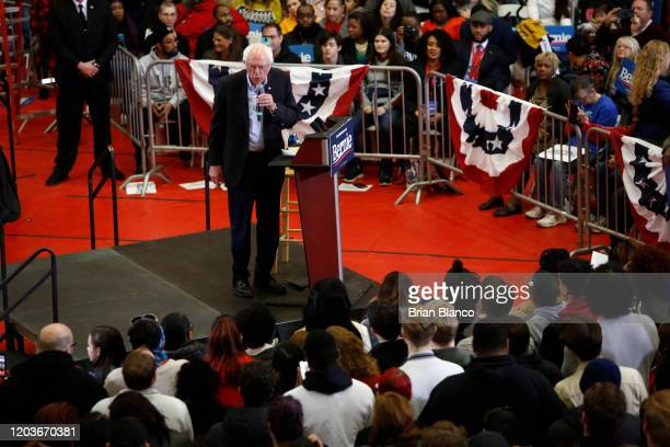 Democratic presidential candidate Sen. Bernie Sanders speaks to supporters during a rally and march to early vote on February 27, 2020 at...