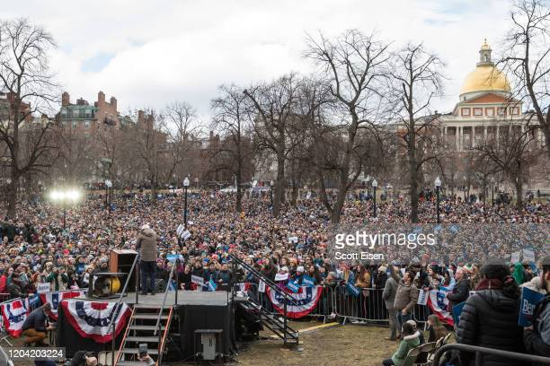 Democratic presidential candidate Sen Bernie Sanders speaks to thousands during a campaign rally on the Boston Common on February 29 2020 in Boston...