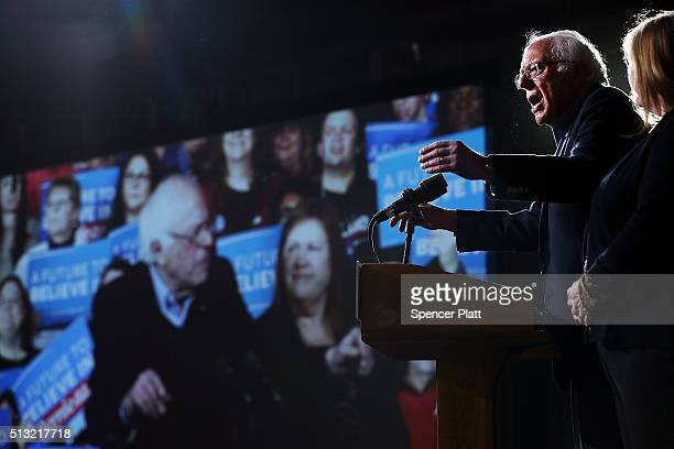 Democratic presidential candidate, Sen. Bernie Sanders speaks to supporters after winning the Vermont primary on Super Tuesday on March 1, 2016 in...