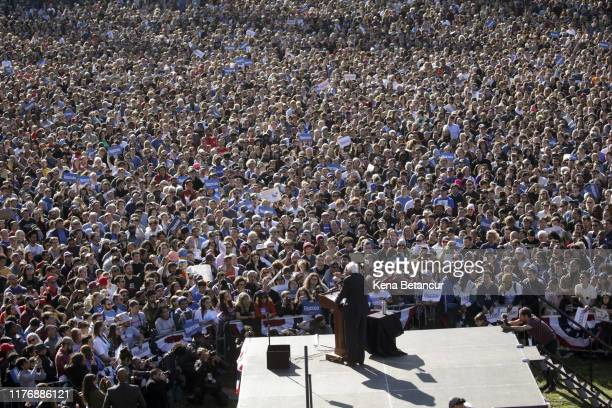 Democratic presidential candidate, Sen. Bernie Sanders speaks to supporters at a campaign rally in Queensbridge Park on October 19, 2019 in the...