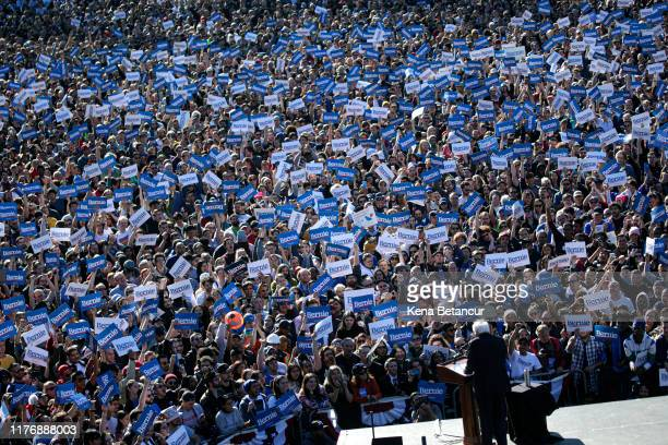 Democratic presidential candidate Sen Bernie Sanders speaks to supporters at a campaign rally in Queensbridge Park on October 19 2019 in the Queens...