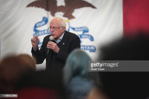 Democratic presidential candidate Sen. Bernie Sanders speaks to guests during a campaign stop at Berg Middle School on January 11, 2020 in Newton,...