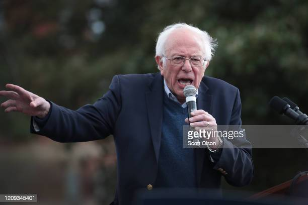 Democratic presidential candidate Sen Bernie Sanders speaks to guests during a campaign rally at Finlay Park on February 28 2020 in Columbia South...