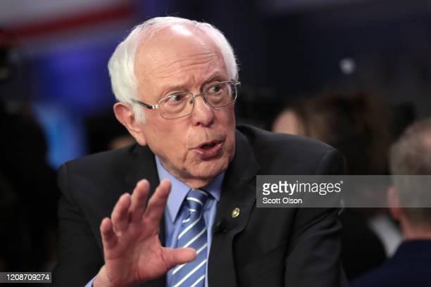 Democratic presidential candidate Sen Bernie Sanders speaks to media in the spin room after the Democratic presidential primary debate at the...