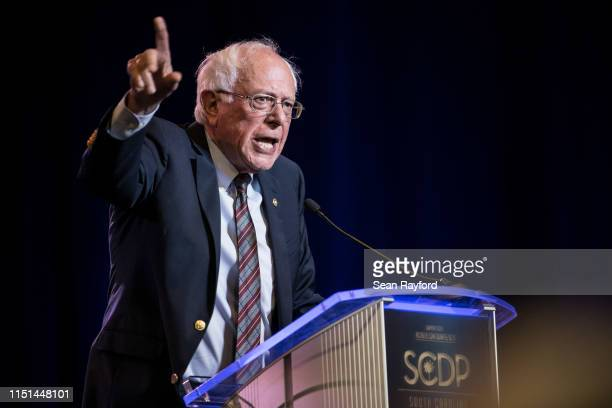 Democratic presidential candidate, Sen. Bernie Sanders speaks to the crowd during the 2019 South Carolina Democratic Party State Convention on June...