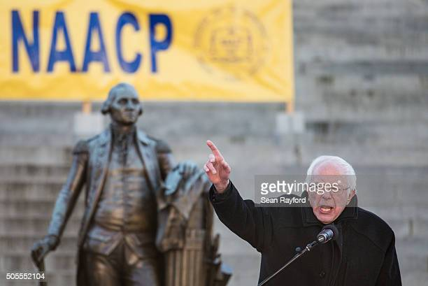 Democratic presidential candidate Sen Bernie Sanders speaks to the crowd during the King Day at the Dome rally at the SC State House January 18 2016...