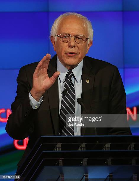 Democratic presidential candidate Sen Bernie Sanders takes part in a presidential debate sponsored by CNN and Facebook at Wynn Las Vegas on October...