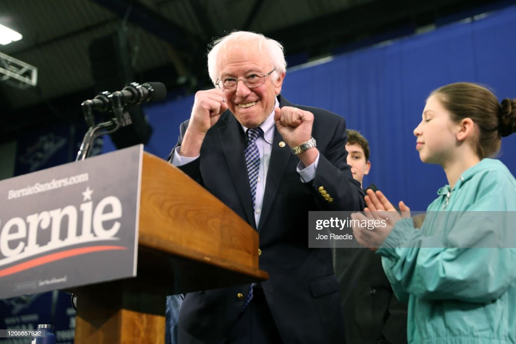 Presidential Candidate Bernie Sanders Holds NH Primary Night Event In Manchester : News Photo