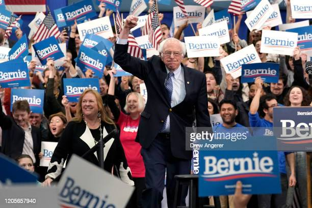 Democratic presidential candidate Sen. Bernie Sanders takes the stage during a primary night event on February 11, 2020 in Manchester, New Hampshire....
