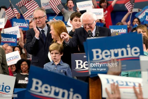Democratic presidential candidate Sen Bernie Sanders takes the stage during a primary night event on February 11 2020 in Manchester New Hampshire New...