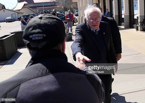 Democratic presidential candidate Sen Bernie Sanders talks to supporters after eating breakfast at Blue's Egg on April 5 2016 in Milwaukee Wisconsin...