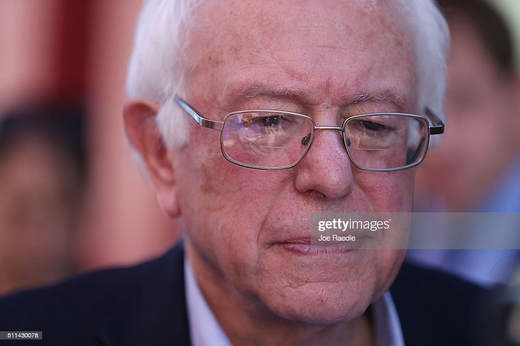 Democratic presidential candidate Sen. Bernie Sanders (D-VT) visits the Western High School caucus site on February 20, 2016 in Las Vegas, Nevada. Sanders and Hillary Clinton wait for the voters to weigh in as they head to the polls in the Democratic caucus.
