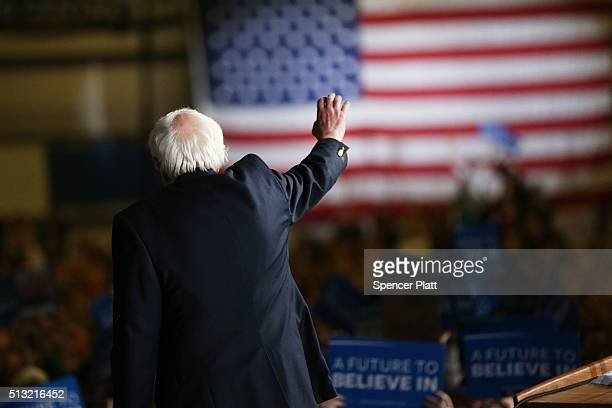 Democratic presidential candidate Sen Bernie Sanders walks off stage after speaking to supporters following a win in the state of Vermont on Super...