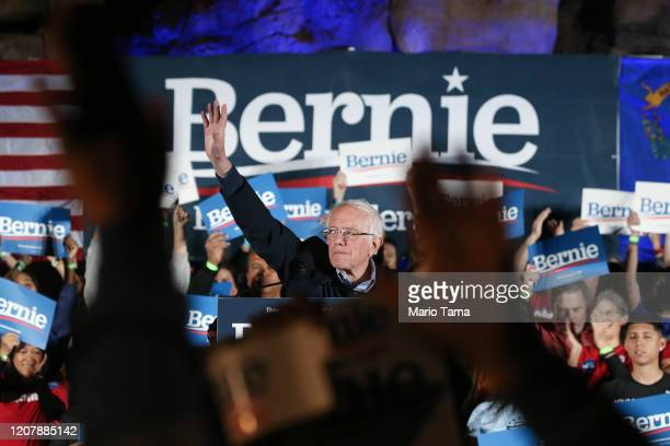 Democratic presidential candidate Sen Bernie Sanders waves to supporters at a campaign rally for Sanders on February 21 2020 in Las Vegas Nevada The...