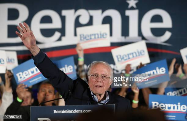 Democratic presidential candidate Sen. Bernie Sanders waves to supporters at a campaign rally for Sanders on February 21, 2020 in Las Vegas, Nevada....
