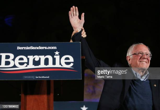 Democratic presidential candidate Sen Bernie Sanders waves to supporters at a campaign rally on February 21 2020 in Las Vegas Nevada The upcoming...