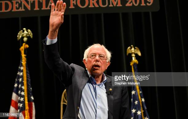 Democratic presidential candidate Sen Bernie Sanders waves to the crowd after speaking at the Frank LaMere Native American Presidential Forum on...