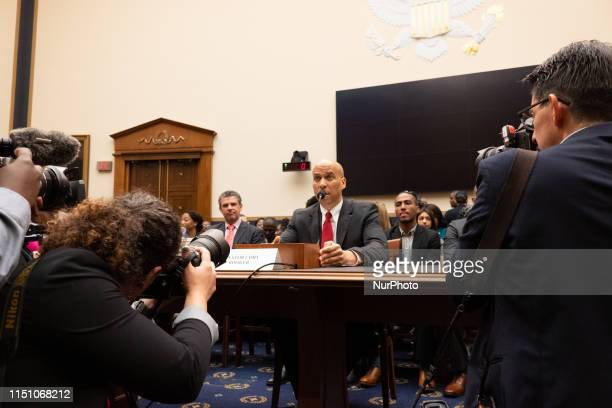 Democratic Presidential candidate Sen. Cory Booker, D-NJ, testifies about reparations for the descendants of slaves during a hearing before the House...
