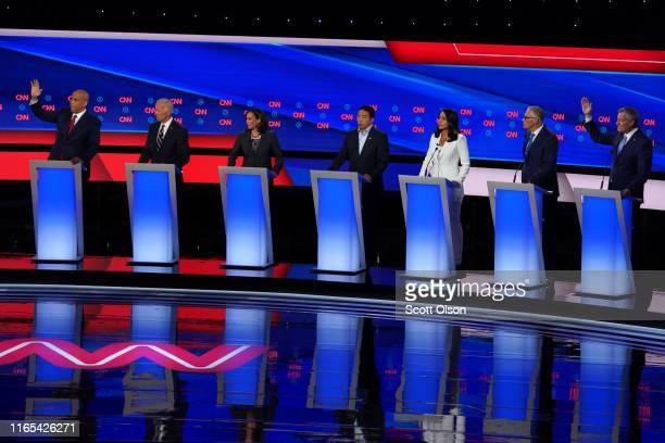 Democratic presidential candidate Sen Cory Booker former Vice President Joe Biden Sen Kamala Harris former tech executive Andrew Yang Rep Tulsi...