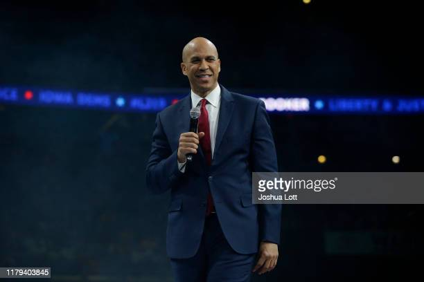 Democratic presidential candidate Sen. Cory Booker speaks during The Iowa Democratic Party Liberty & Justice Celebration on November 1, 2019 in Des...