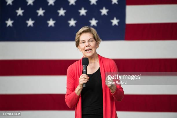 Democratic presidential candidate, Sen. Elizabeth Warren addresses a crowd outside of the Francis Marion Performing Arts Center October 26, 2019 in...