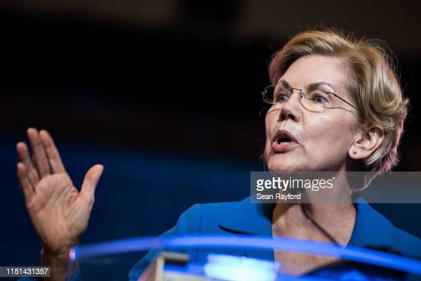 Democratic presidential candidate Sen Elizabeth Warren addresses the crowd at the 2019 South Carolina Democratic Party State Convention on June 22...