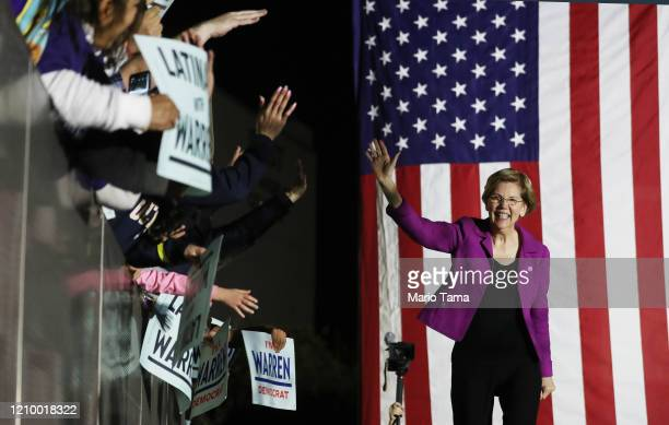 Democratic presidential candidate Sen. Elizabeth Warren arrives before delivering a campaign speech at East Los Angeles College on March 2, 2020 in...