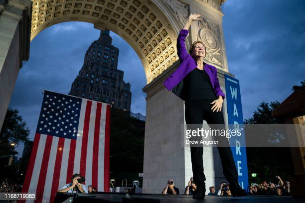Democratic presidential candidate Sen Elizabeth Warren arrives for a rally in Washington Square Park on September 16 2019 in New York City Warren...
