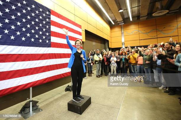 Democratic presidential candidate Sen Elizabeth Warren greets an overflow crowd in the Fisher Pavillion as she campaigns at the Seattle Center on...