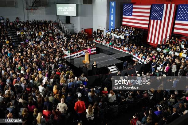 Democratic presidential candidate Sen Elizabeth Warren speaks at a campaign event at Clark Atlanta University on November 21 2019 in Atlanta Georgia...
