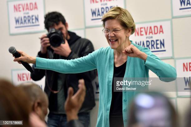Democratic presidential candidate Sen Elizabeth Warren speaks at a canvass kickoff event at one of her campaign offices on February 20 2020 in North...