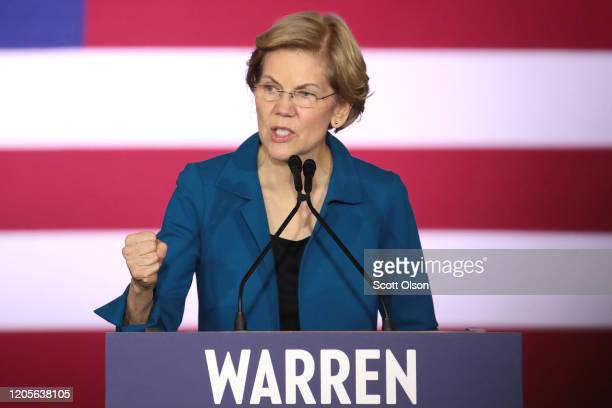 Democratic presidential candidate Sen Elizabeth Warren speaks at her primary night event on February 11 2020 in Manchester New Hampshire New...