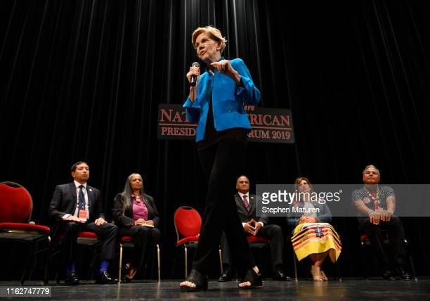 Democratic presidential candidate Sen. Elizabeth Warren speaks at the Frank LaMere Native American Presidential Forum on August 19, 2019 in Sioux...