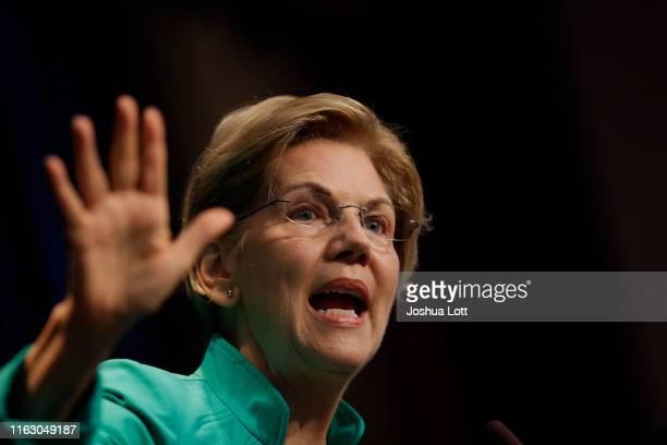 Democratic presidential candidate Sen Elizabeth Warren speaks at the Iowa Federation Labor Convention on August 21 2019 in Altoona Iowa Candidates...