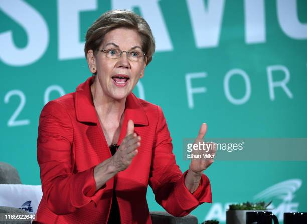 Democratic presidential candidate Sen Elizabeth Warren speaks during the 2020 Public Service Forum hosted by the American Federation of State County...