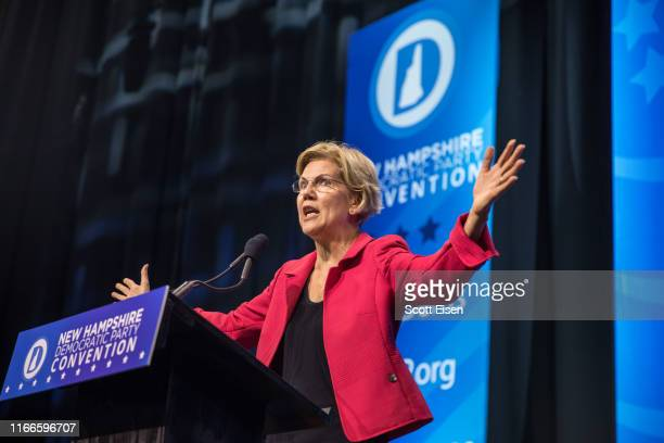 Democratic presidential candidate Sen Elizabeth Warren speaks during the New Hampshire Democratic Party Convention at the SNHU Arena on September 7...