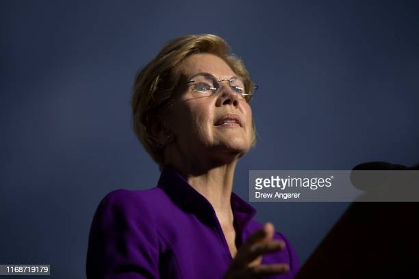 Democratic presidential candidate Sen Elizabeth Warren speaks during a rally in Washington Square Park on September 16 2019 in New York City Warren...