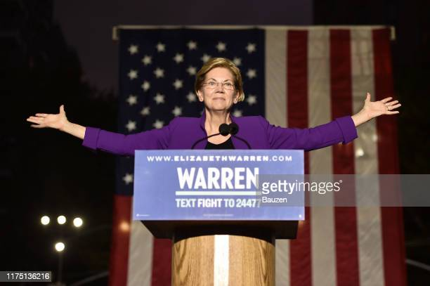 Democratic presidential candidate Sen. Elizabeth Warren speaks during a rally in Washington Square Park on September 16, 2019 in New York City....