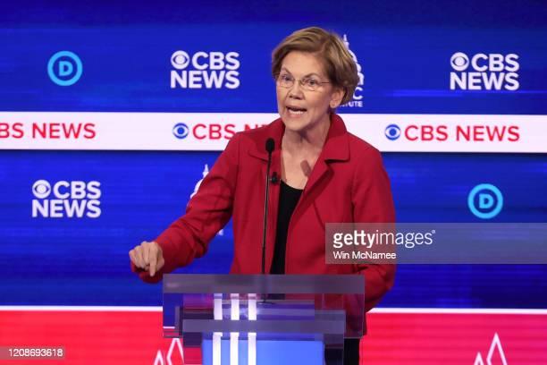 Democratic presidential candidate Sen Elizabeth Warren speaks during the Democratic presidential primary debate at the Charleston Gaillard Center on...