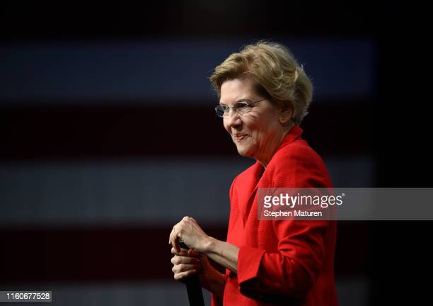 Democratic presidential candidate Sen. Elizabeth Warren speaks on stage during a forum on gun safety at the Iowa Events Center on August 10, 2019 in...