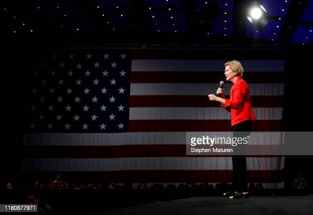 Democratic presidential candidate Sen Elizabeth Warren speaks on stage during a forum on gun safety at the Iowa Events Center on August 10 2019 in...