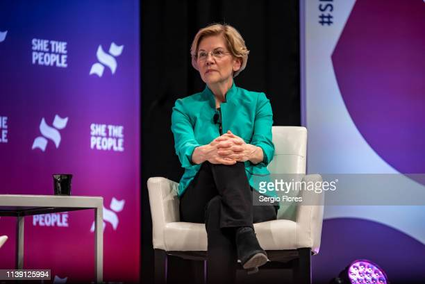 Democratic presidential candidate Sen Elizabeth Warren speaks to a crowd at the She The People Presidential Forum at Texas Southern University on...