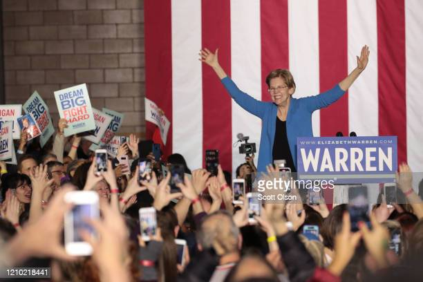 Democratic presidential candidate Sen. Elizabeth Warren speaks to supporters during a rally at Eastern Market as Super Tuesday results continue to...