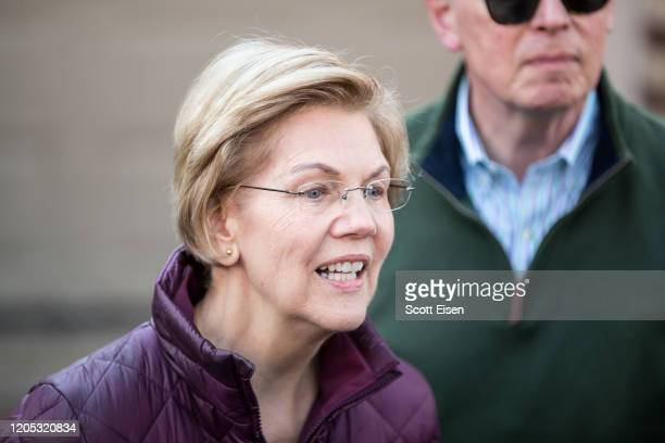 Democratic presidential candidate Sen. Elizabeth Warren , with husband Bruce Mann, announces that she is dropping out of the presidential race during...