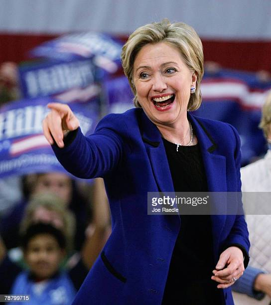 Democratic presidential candidate Sen Hillary Clinton laughs as she is introduced during a campaign stop at The McConnell Center January 7 2008 in...
