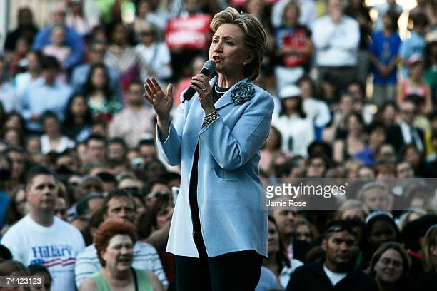 Democratic presidential candidate Sen Hillary Clinton speaks to supporters at a rally called Club 44 in reference to the 44th President of the United...