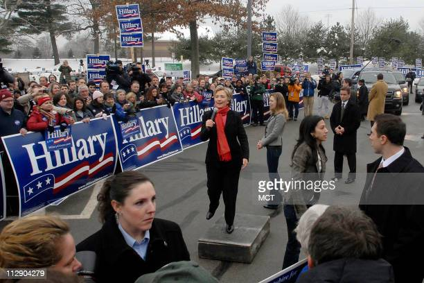 Democratic presidential candidate Sen Hillary Clinton talks to supporters in Manchester New Hampshire Sunday January 6 2008