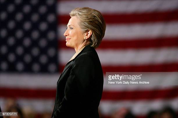 Democratic presidential candidate Sen Hillary Rodham Clinton is at Hunter College where she spoke during a campaign stop before flying out to Texas...
